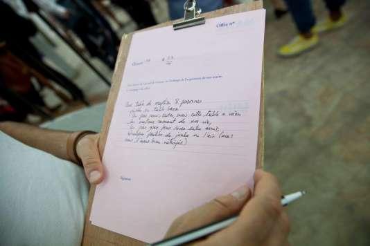 Un formulaire de troc pour une œuvre de l'exposition« Matin, midi et soir».