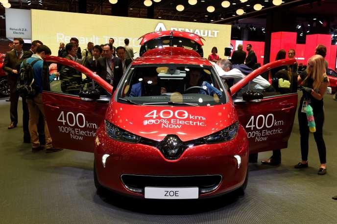 La nouvelle version de la Renault Zoe, présentée au Mondial de l'automobile, jeudi 29septembre à Paris.