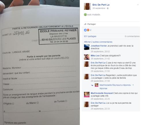 Capture d'écran du mot qui a circulé sur Facebook.