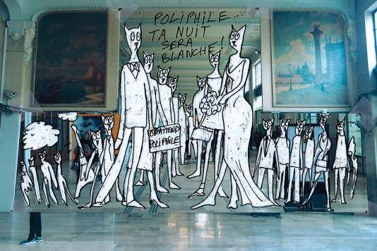 Dessin préparatoire pour «En attendant Poliphile», du plasticien Alain Séchas, dans la galerie des Fresques de la gare de Lyon.