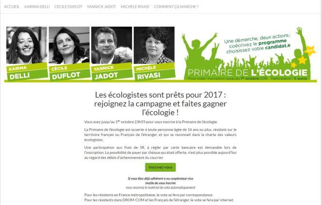 Capture d'écran du site de la primaire d'EELV.
