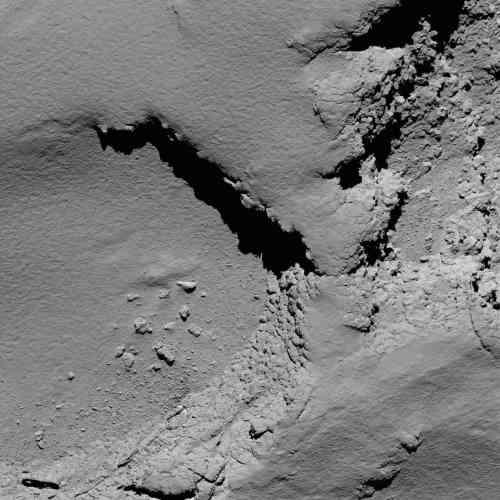 Les Européens sont les premiers à survoler aussi longtemps une comète. Ces objets célestes sont constitués du matériau le plus ancien du système solaire, vieux d'environ 4,6milliards d'années. Cette photo a été prise à 5,8kilomètres de la surface de«Tchouri».