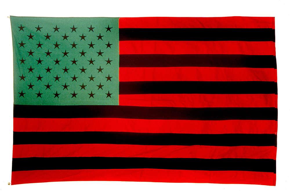 «Ce drapeau est une œuvre contemporaine culte et mythique : David Hammons a changé les couleurs –noir, vert et rouge –comme s'il existait une nation noire américaine. Cette œuvre est placée également à l'entrée de l'exposition.»