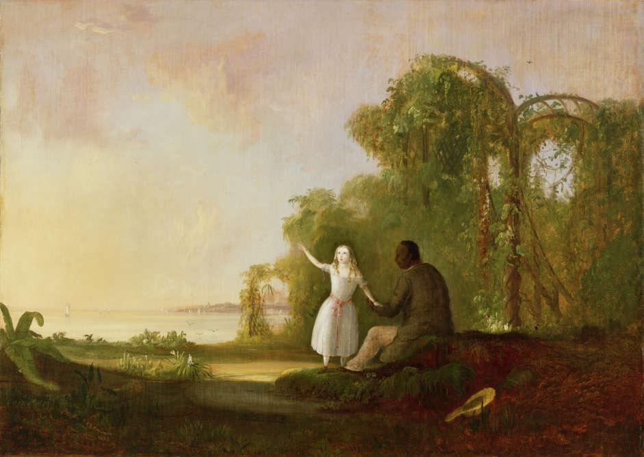 """«Cette toile est placée à l'entrée de l'exposition. """"La Case de l'Oncle Tom"""" est un roman abolitionniste : le peintre prend partie. La petite fille blanche pose sa main dans celle du Noir : la """"Color Line""""est une absurdité et l'égalité doit être respectée.»"""