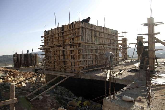 Datant de février 2012, une construction de logement à Shilo, en Cisjordanie. Les 98nouveaux logements vont être construits dans cette zone.