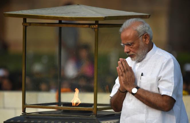 Le premier ministre indien lors du 147e anniversaire de la naissance deMahatma Gandhi, le 2 octobre.