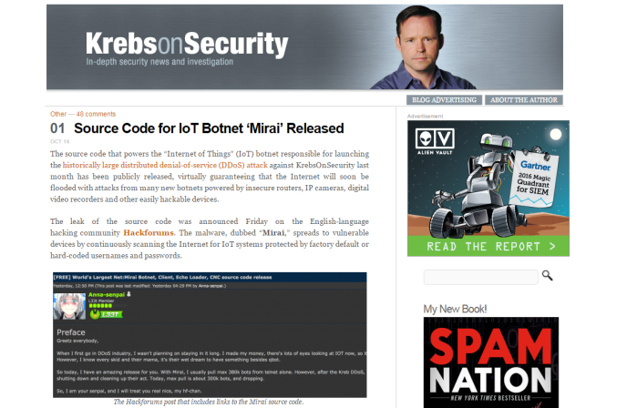Le blog de Brian Krebs, uncélèbre spécialiste en sécurité informatique américain, a été victime d'une des attaques informatiques.