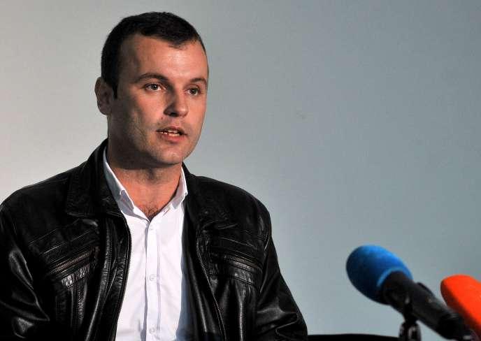 Mladen Grujicic, le candidat du parti nationaliste serbe, le 2 octobre àSrebrenica