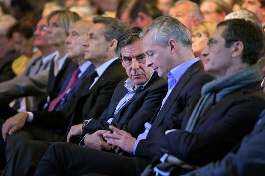 Meeting de Valérie Pécresse pour les élections régionales à Nogent sur Marne le 27 septembre 2015. Nicolas Sarkozy, Président des Républicains, François Fillon et Bruno Le Maire