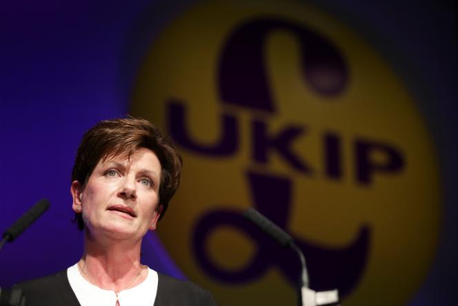 Le 16 septembre, Diane James lors de la conférence d'automne du UKIP àBournemouth, en Angleterre.