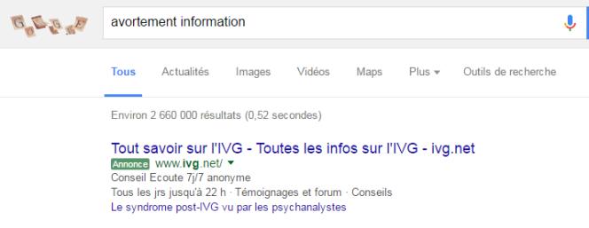Le site « pro-vie » ivg.net apparaît dans les liens sponsorisés de Google concernant l'avortement.