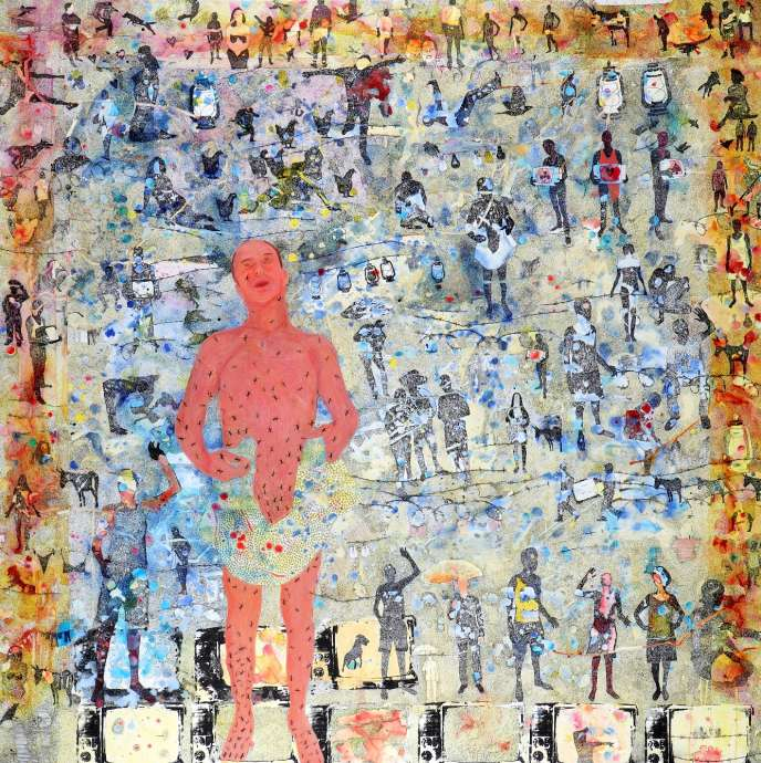 Slimen Elkamel,«En attendant…»,acrylique et transfert sur toile,197 x 197 cm, 2016.