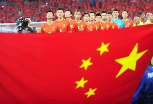 Lors du match pour les éliminatoires de la Coupe du monde 2018, entre la Chine et l'Iran, à Shenyang, le 6 septembre.