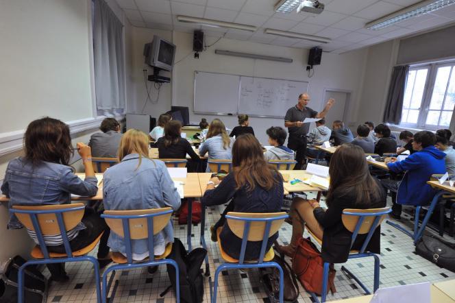 Une classe du lycée Guist'hau's à Nantes, le 4 septembre 2012.