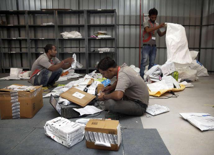 Les entrepôts de Delhivery, à Gurgaon, en périphérie de New Delhi, en août.