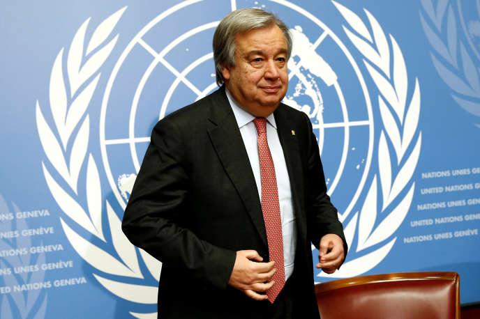 Antonio Guterres, alors haut-commissaire chargé des réfugiés pour les Nations unies, le 18 décembre 2015, à Genève.