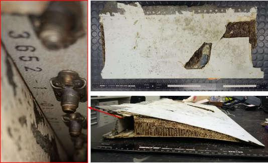 Le débris d'avion découvert sur l'île Maurice.