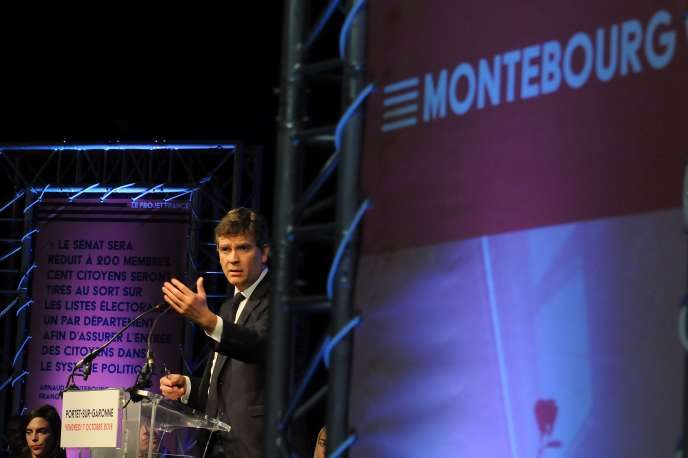 Arnaud Montebourg, lors d'un meeting à Portet-sur-Garonne (Haute-Garonne), le 7 octobre.