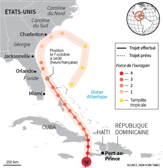 La carte de la trajectoire du cyclone Matthew.