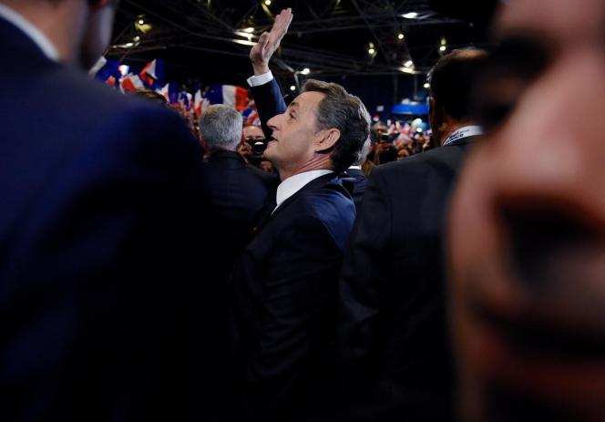 Nicolas Sarkozy en meeting à Paris, le 9 octobre.