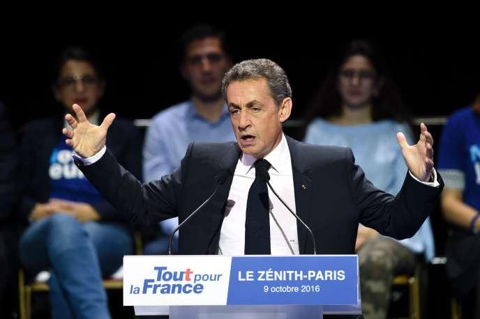 Nicolas Sarkozy, au Zénith de Paris, le 9 octobre 2016.