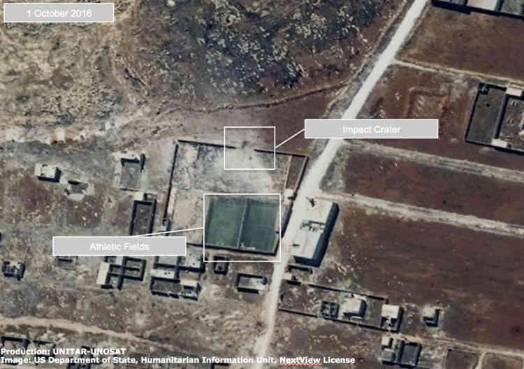 Une école ou une installation sportive endommagée dans le quartier Ouija d'Alep, en Syrie, le 1er octobre 2016.