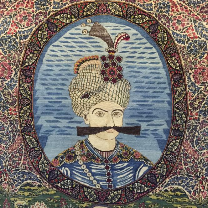 Représentation d'un roi Kadjar, au Musée du tapis de Téhéran.