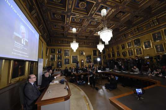Attribution du prix Nobel d'économie à l'Académie royale des sciences, à Stockholm (Suède), le 10 octobre.