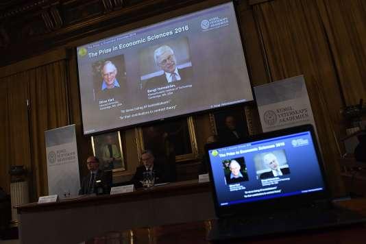 L'annonce du prix Nobel d'économie lundi 10 octobre à Stockholm.