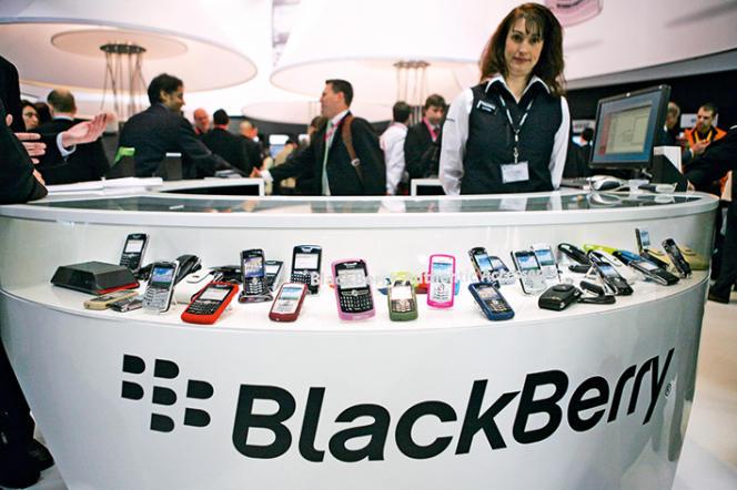 Le stand Blackberry au salon 3GSM Mobile World Congress 2008, à Barcelone.