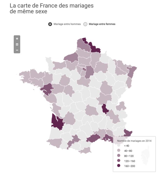 La carte de France des mariages entre personnes de même sexe.