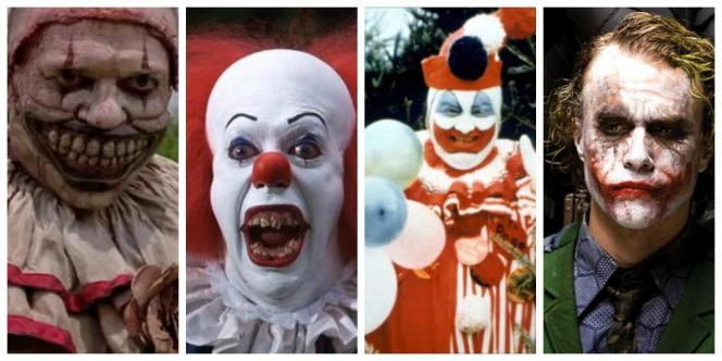 Twisty, Pennywise, John Wayne Gacy et Heath Ledger en Joker.