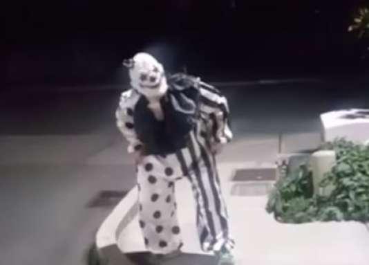 Capture d'écran d'une vidéo montrant un clown dans un parking de l'Etat de Washington.