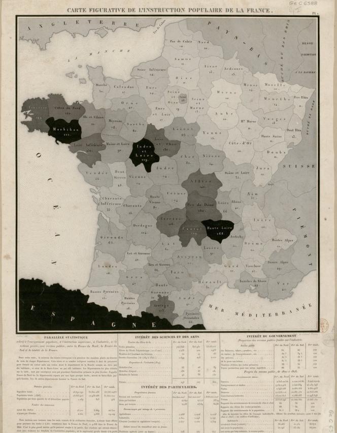 La «carte figurative de l'instruction populaire de la France» de Charles Dupin, 1826.