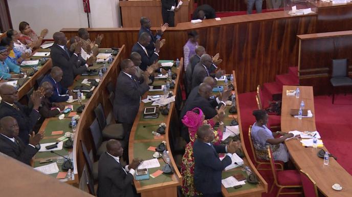 L'Assemblée nationale ivoirienne le 11 octobre 2016, lors du vote du projet de texte de la nouvelle Constitution.