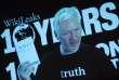 Julian Assange, lors d'une video conférence diffusée, à l'occasion du 10e anniversaire de Wikileaks, à Berlin, le 4 octobre.