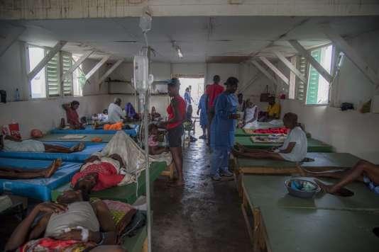 Une salle du centre de traitement contre le choléra.