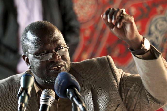 Le vice-président sud-soudanais Riek Machar durant une conférence de presse à Khartoum, le 18 septembre 2016.