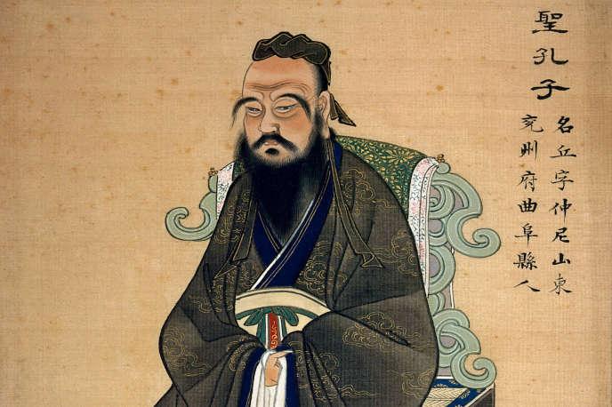 Estampe chinoise du XVIIIe siècle représentant le philosophe Confucius (551-479 av. J.-C.).
