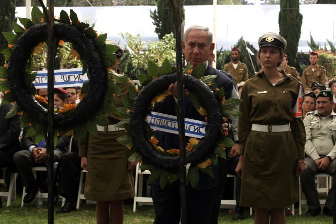 Benyamin Nétanyahou, lors d'une cérémonie en hommage aux soldats israéeliens morts pendant la guerre du Kippour, le 13 octobre à Jérusalem.