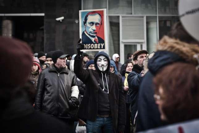 Manifestations ant-Poutine, à Moscou, en décembre 2011.