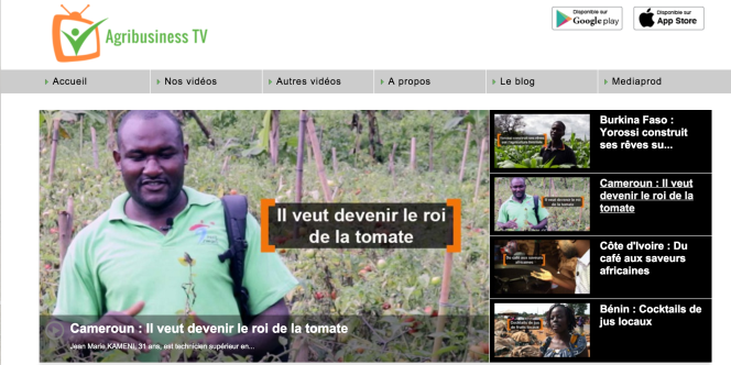 La page d'accueil du site Agrobusinesstv.info