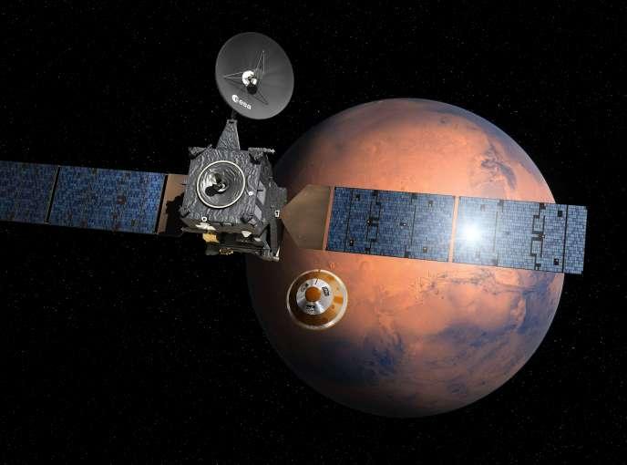 Vue d'artiste de la sonde TGO et son module atterrisseur, Schiaparelli, au moment de la séparation le 16 octobre