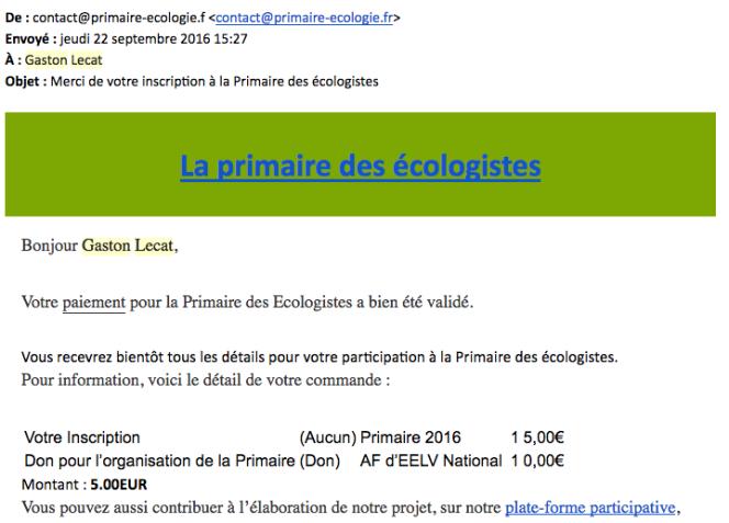 Copie d'écran du mail de confirmation à la primaire d'EELV.