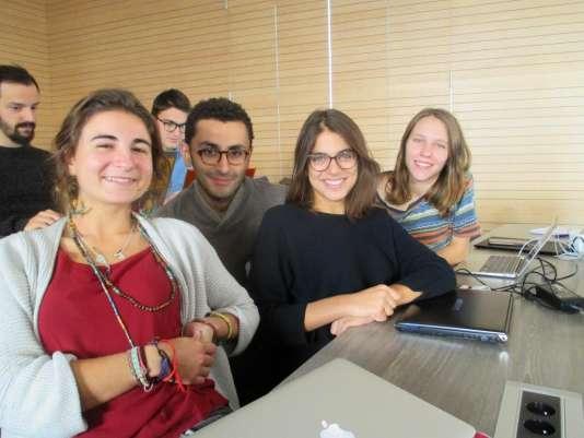 Brune Cangardel, Medhi El Motre, Caroline Kotbe et Alice Abbat, membres du groupe «Alimentation durable»