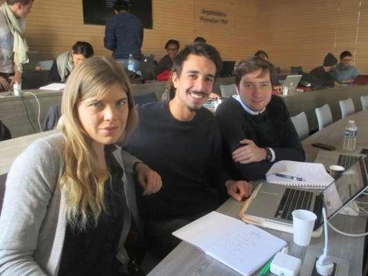 """Camilla Voce, Andréa Schiavoni et Gauthier Langlois, membres de l'équipe du """"Fashion lab"""""""