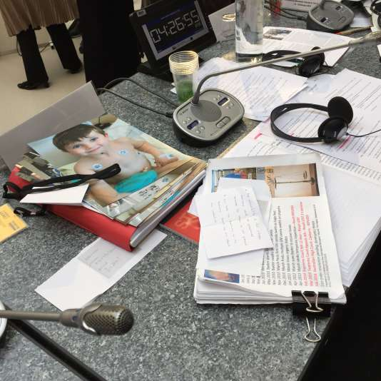 Sur la table des juges, au Tribunal Monsanto, à La Haye, samedi 15 octobre, la photo du jeune Théo, victime de malformations dues au glyphosate.
