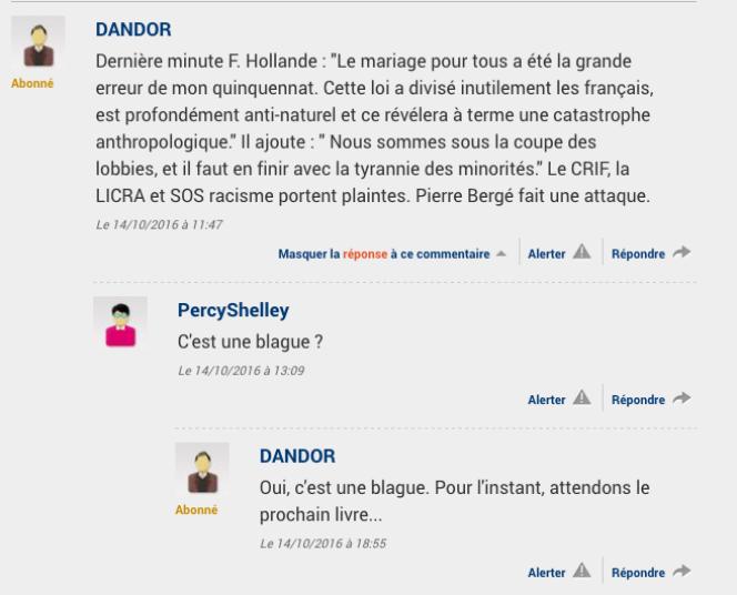 Le commentaire de lecteur du Figaro d'où provient la fausse citation.