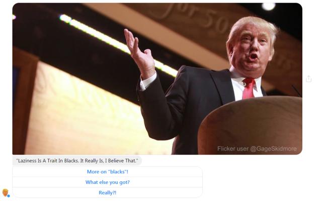 Le« bot» BFF Trump partage des citations de Donald Trump sur Facebook Messenger.