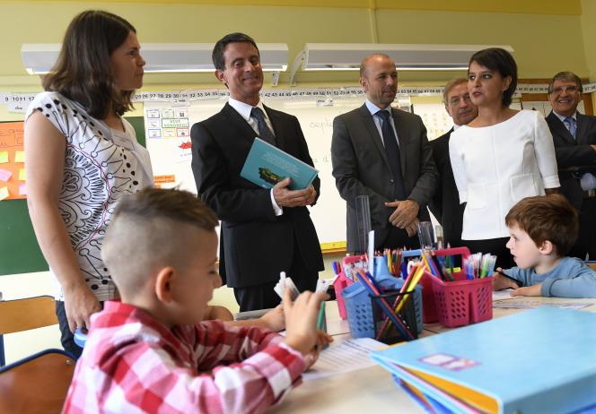 Manuel Valls et Najat Vallaud-Belkacem, à Bourg-en-Bresse, le 5 septembre 2016.